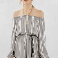 Ecote Striped Off-The-Shoulder Romper