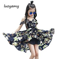 Girls Children Summer Sleeveless Chiffon Asymmetrcal Prom Clothes Infant Kid Princess Baby V-neck Next Party Beach Floral Dresse