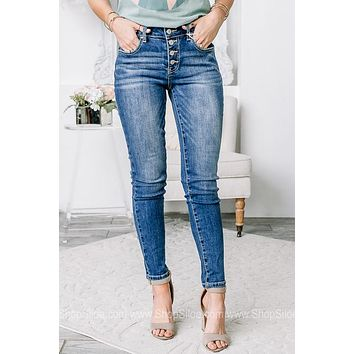Nancy Button Up Ankle Skinny Jeans