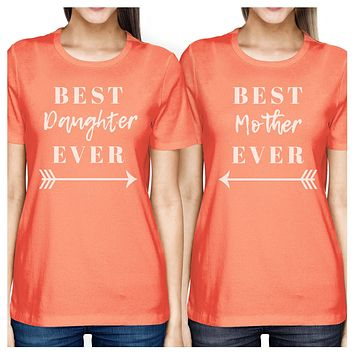 Best Daughter & Mother Ever Peach Womens Graphic T Shirts