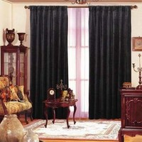 Maifa Textiles Black Velvet Window Theater Curtain Drape 96""