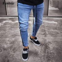 VERTVIE 2018 New Knee Hole Side Zipper Slim Distressed Jeans Men Fashion Trendy Ripped Tore Up Jeans For Male Stripe Pants 3XL
