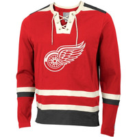 Detroit Red Wings Old Time Hockey Maxfield Lace-Up Long Sleeve T-Shirt - Red