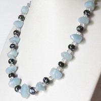 Chunky Aquamarine Necklace with Quartz and  Lampwork Beads, Statteam