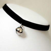 Cat Bell Velvet Choker Silver Cute Kawaii Anime Gothic Soft Grunge Tumblr Cosplay Kitty Necklace