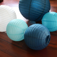 5 Assorted Size Paper Lanterns - Wedding  / Event Supplies & Decor - Baby Shower