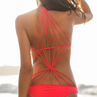 Red Scoop Neckline Strappy Monokini