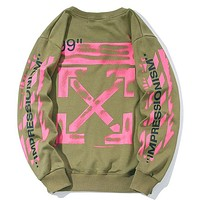 Onewel OFF-WHITE High quality sweater sweater sweater back printed large cotton pure combed fabric army green