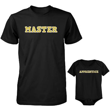 Daddy and Baby Matching Black T-Shirt / Bodysuit Combo - Master and Apprentice