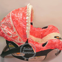Coral Damask/Coral 3D Rosette Roses/Ivory Minky Swirl Infant car seat cover 5 piece set