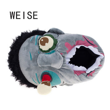 WEISE Free Shipping 1Pair Plush Zombie Slippers / Ravenous Zombie Warm Slippers Funny  Home Shoes  Cartoon Slippers