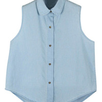 ROMWE Doll Collar Buttoned Arc Hem Sleeveless Light Shirt