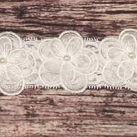 White Triple Lace and Pearl Flowers on White Lace Baby Headband.