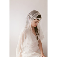 Lily of the Valley -  French lace silk tulle bridal veil 833