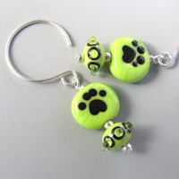 Lime Green Dog Jewelry Cat Paw Print earrings handmade by GemBonz