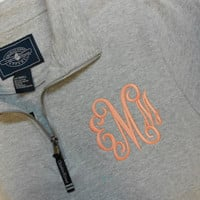 Monogram Sweatshirt Quarter Zip  Font Shown INTERLOCKING