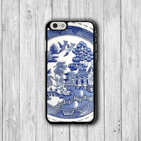 Vintage Chinese Ink Painting iPhone 6 Cases, iPhone 5S Cover Blue Drawing Culture iPhone 4S Boss Gift Accessories Gilf Pocket Deco Samsung