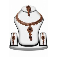 Designer Fashion Jewelry Brown Necklace Set with Earrings for Women
