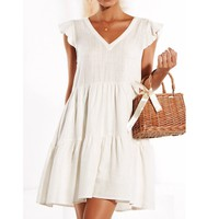 Summer Dress Women's Ruffled Short Dress Short Sleeve V-Neck Short Beach Evening Party Dress Sundress Casual Dress Vestido