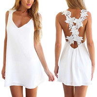 Womens V Neck Backless Lace Crochet Dress
