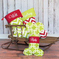 PERSONALIZED CHRISTMAS STOCKING - Embroidered - Choose Your Fabric - Dog & Cat Stockings Available