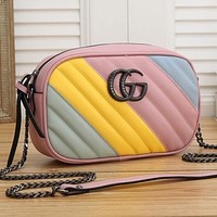 Onewel GUCCI camera bag women's shopping crossbody bag shoulder bag Rainbow colors