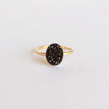 14K Gold Filled Black Oval Druzy Ring - (thin band, black druzy, 14k gold filled ring)