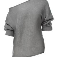 Gray Off Shoulder Open Knit Sweater
