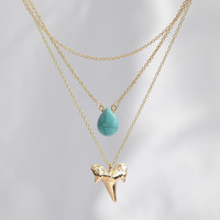 Layered Gold & Silver Shark tooth Necklace's