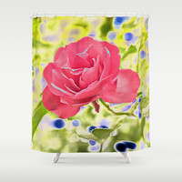 The rose and the blueberries Shower Curtain by Pirmin Nohr