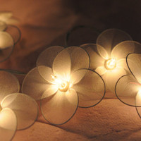 20 flower handmade in white color string light patio decoration wedding bedroom living room party lantern