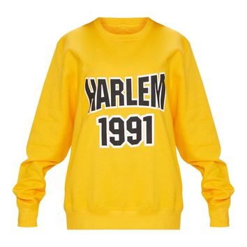 Yellow Harlem Slogan Oversized Sweater