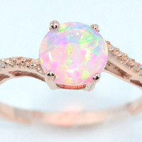 14Kt Rose Gold Pink Opal Round DIamond Ring