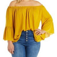 Plus Size Mustard Off-the-Shoulder Boho Top by Charlotte Russe