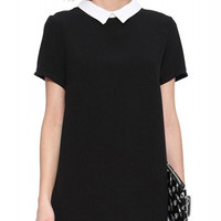 Black Short Sleeve Collared Long Back Mini Dress