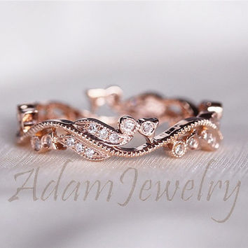 Fancy Solid 14K Rose Gold Wedding Band Full Eternity Women's Diamonds Engagement Ring/ Promise Ring/ Anniversary Ring