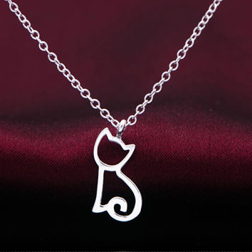 925 sterling silver cute cat necklace, fashion personality tiny cat necklace, a perfect gift