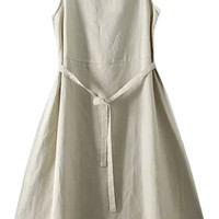 Khaki Drawstring Waist A-Line Midi Dress