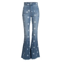 Stardust Blue Denim Star Print Flare Jean with Frayed Hem