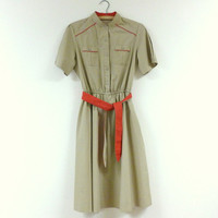 Vintage Safari Dress Red and Khaki Military Style A-line Shirt Dress 70s Does 50s Mid-Century Dress S-M