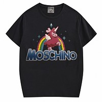 Moschino New fashion letter rainbow print couple top t-shirt Black