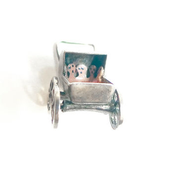 1940s Sterling Baby Carriage Charm Vintage Pram with Babies & Blanket