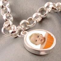"Custom Photo Charm Bracelet (""Dahlia"" Style) - Small Photo Charm - Sterling Silver, Waterproof."