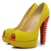 Christian Louboutin Fashion Edgy Rivets Red Sole Heels Shoes-21