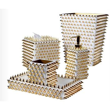 Quill White & Gold Bath Accessories by Mike + Ally