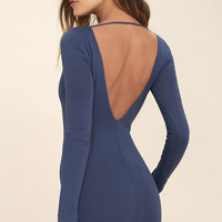 Cheers to the Night Denim Blue Long Sleeve Dress