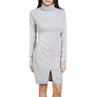 Long Sleeve Turtle Neck Front Slit Knitted Dress