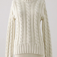 Cable Knit Turtleneck Long Sleeve Pullover Sweater