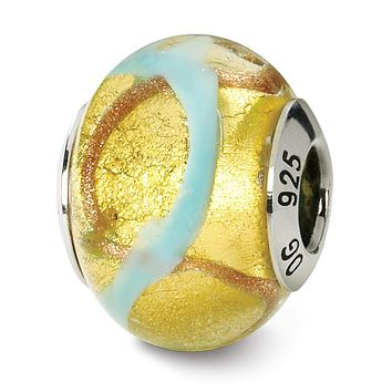Sterling Silver, Yellow and Light Blue Swirl Murano Glass Charm