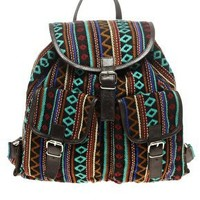 ASOS | ASOS Leather Black Aztec Backpack at ASOS